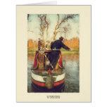Narrowboat winding greeting cards