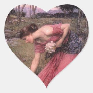 Narsissus Picking Flowers Heart Sticker
