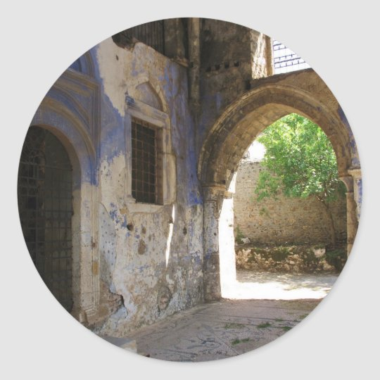 Narthex of the  Chuch of the Panayia Pyrgiotissa, Classic Round Sticker