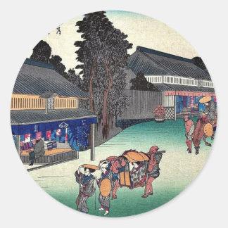 Narumi por Ando, Hiroshige Ukiyoe Pegatinas Redondas