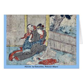 Narumi por Katsushika, Hokusai Ukiyoe Felicitacion