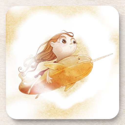 Narwhal. Adorable Cute and journey. Coaster