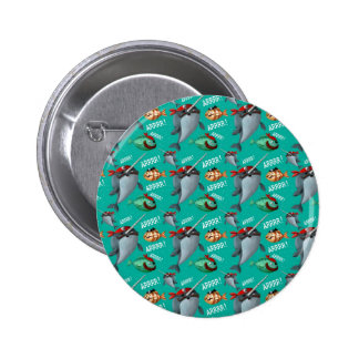 Narwhal and Fish Pirate Pattern Pinback Button