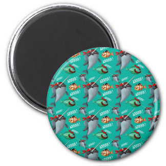 Narwhal and Fish Pirate Pattern Fridge Magnets
