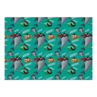 Narwhal and Fish Pirate Pattern Posters