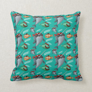 Narwhal and Fish Pirate Pattern Throw Pillow