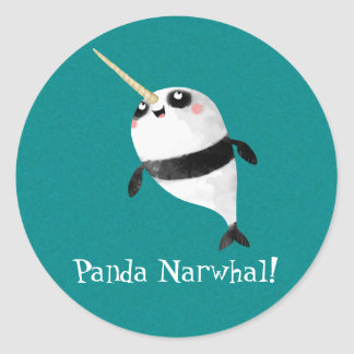 Narwhal and Panda in One Classic Round Sticker