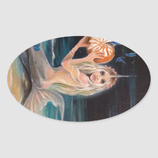 Narwhal and the nautilus original painting oval sticker