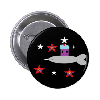 Narwhal and the Space cupcake Pinback Button