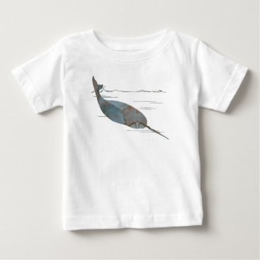 Beach Themed Narwhal Baby T-Shirt