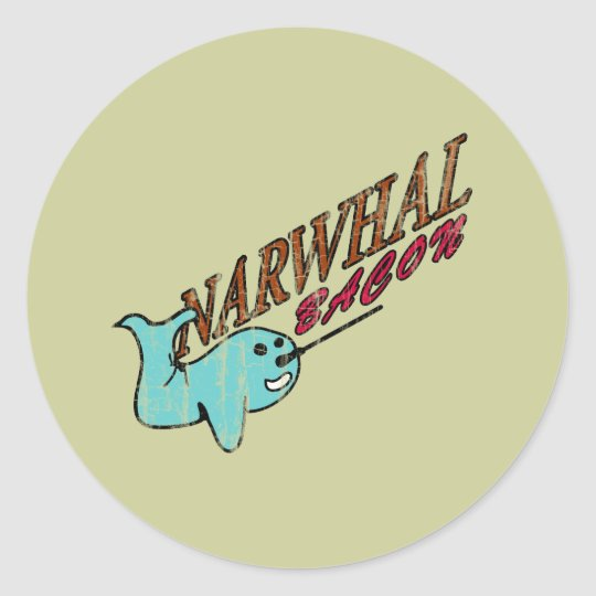 Narwhal Bacon Retro Logo Classic Round Sticker