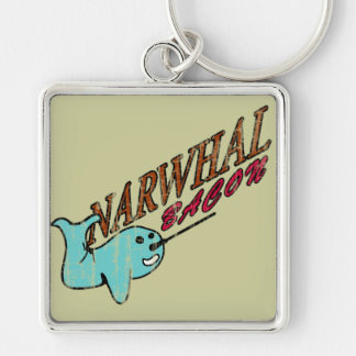 Narwhal Bacon Retro Logo Silver-Colored Square Keychain