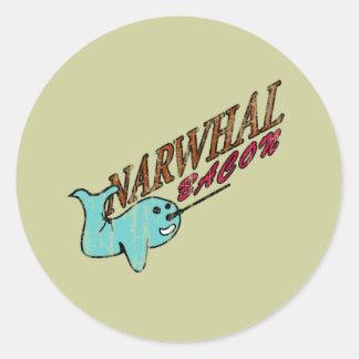 Narwhal Bacon Retro Logo Classic Round Sticker