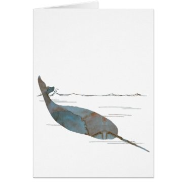 Beach Themed Narwhal Card