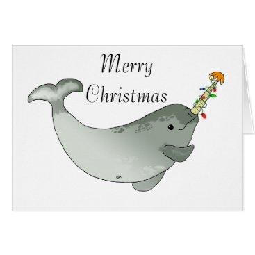 Christmas Themed Narwhal Christmas Card