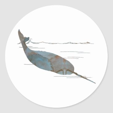 Beach Themed Narwhal Classic Round Sticker