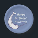 "Narwhal Custom Birthday Party Paper Plates<br><div class=""desc"">Here&#39;s the perfect party plates for your narwhal-themed birthday celebration or special event. These paper plates have a denim blue background with an illustration of a cute narwhal. Use the fill-in-the-blank field to easily add your message or personalization to these plates. These coordinate with other products in our Happy Narwhal...</div>"