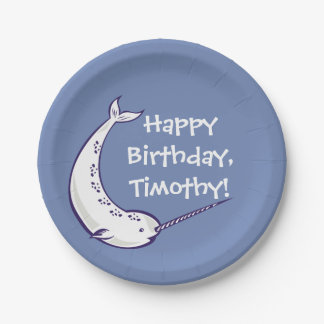 Narwhal Custom Birthday Party Paper Plates