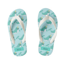 Narwhal Cute Arctic Whale Kid's Flip Flops