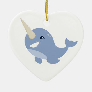 Narwhal Double-Sided Heart Ceramic Christmas Ornament
