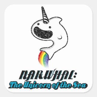 Narwhal: El unicornio del mar Pegatina Cuadradas