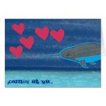 Narwhal en tarjeta del el día de San Valentín del