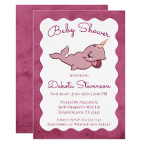 Narwhal Girl Baby Shower | Pink Sea Ocean Animal Invitation