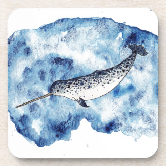 Narwhal in  a splash of watercolour beverage coaster