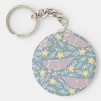Narwhal in Space Pattern Keychain