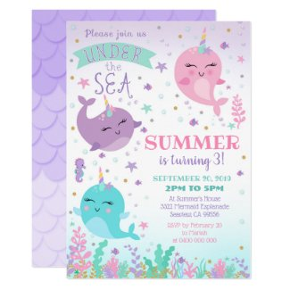 Narwhal Invitation Girl Under the Sea