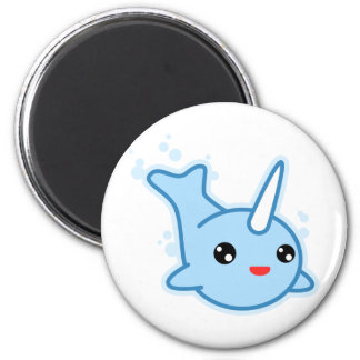 Narwhal Kawaii 2 Inch Round Magnet