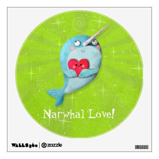 Narwhal lindo con el corazón vinilo decorativo