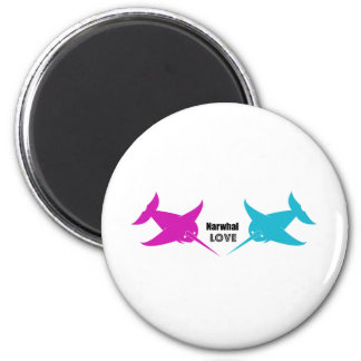 Narwhal Love 2 Inch Round Magnet