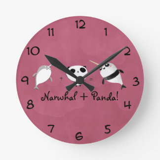 ¡Narwhal más panda! Reloj Redondo Mediano