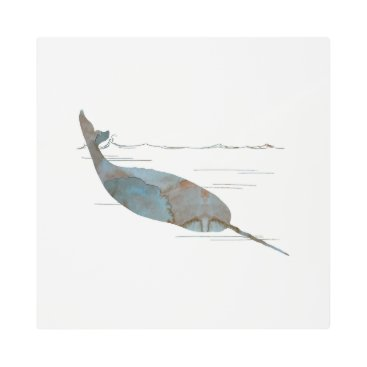 Beach Themed Narwhal Metal Photo Print