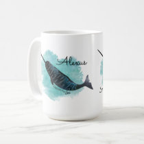Narwhal on Watercolor Heart, Personalized Coffee Mug