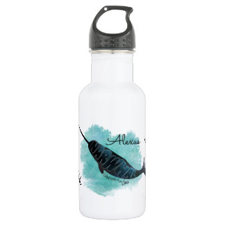 Narwhal on Watercolor Ocean Heart, Personalized Stainless Steel Water Bottle