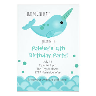 Narwhal Party Invitation
