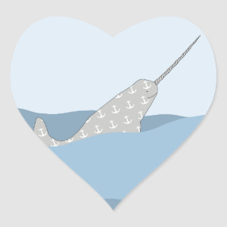 Narwhal Pegatina En Forma De Corazón