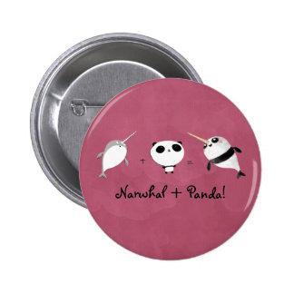 Narwhal plus Panda! Pinback Button