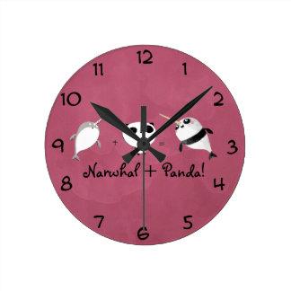 Narwhal plus Panda! Round Clock