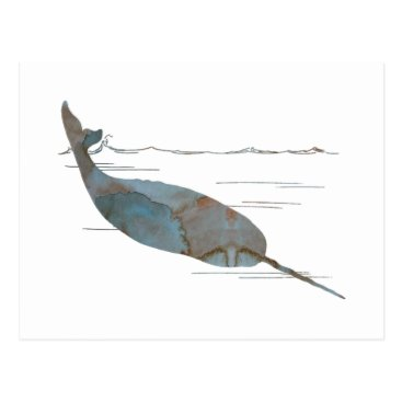 Beach Themed Narwhal Postcard