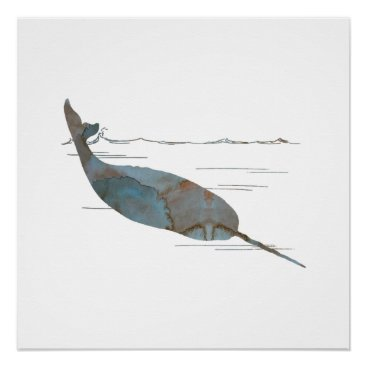 Beach Themed Narwhal Poster