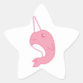 Narwhal rosado pegatina en forma de estrella