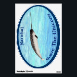 """Narwhal - Save The Unicorn Wall Sticker<br><div class=""""desc"""">The Narwhal (Monodon monoceros) is often called the &quot;Unicorn of the Sea&quot; because of its distinctive tusk; actually a greatly extended canine tooth. During the Medieval age some Europeans believes that Narwhal tusks, harvested by the Greenland Norse were in fact Unicorn horns. They were worth more then their weight in...</div>"""