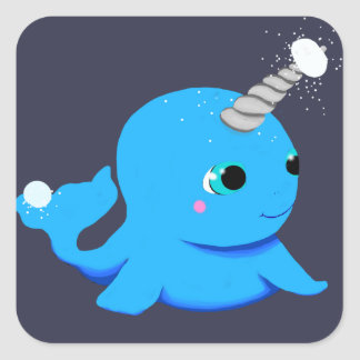 Narwhal snowball fight! square sticker