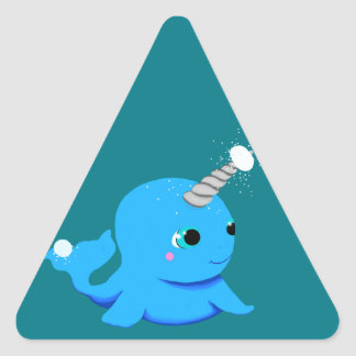 Narwhal snowball fight! triangle sticker