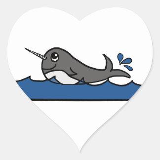 Narwhal Splash Heart Sticker
