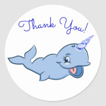 Narwhal Thank You | Blue Party Sea Ocean Animal Classic Round Sticker