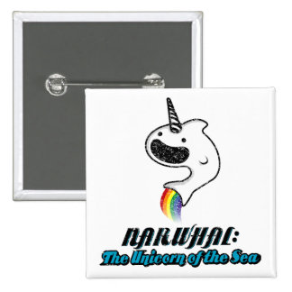 Narwhal:The Unicorn of the Sea 2 Inch Square Button
